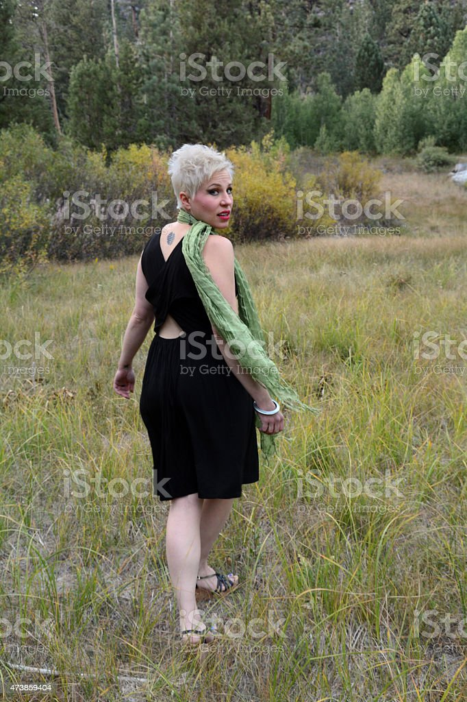 Woman Looking Back royalty-free stock photo