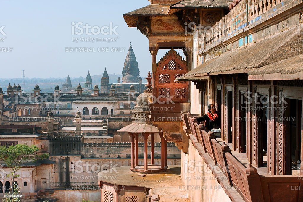 Woman looking from historical Citadel of Jahangir stock photo