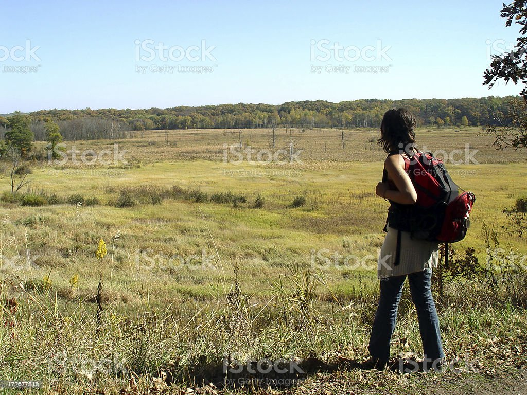 Woman Looking Into Vast Field stock photo