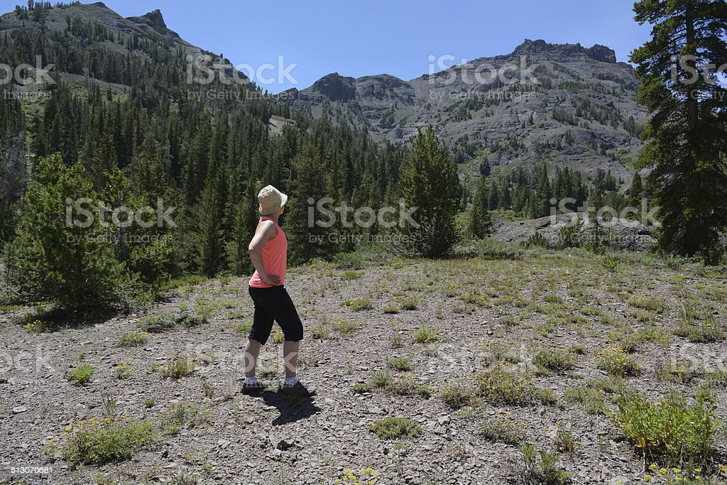 Woman Looking Out Toward Mountains royalty-free stock photo