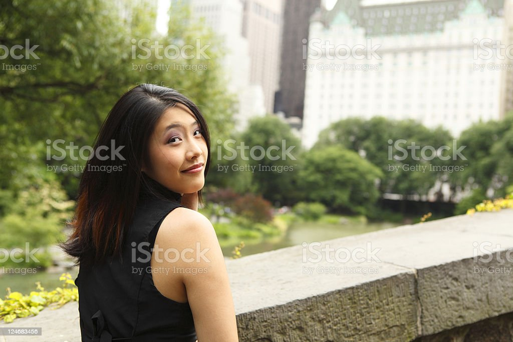 Woman Looking Over Shoulder royalty-free stock photo