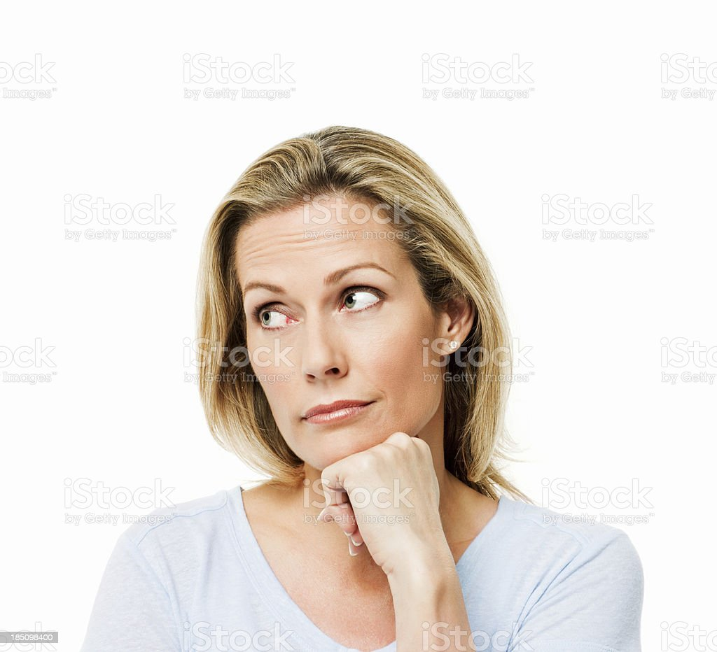 Woman Looking Pensively to the Side - Isolated stock photo