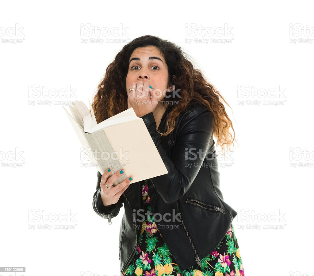 Woman looking scared stock photo
