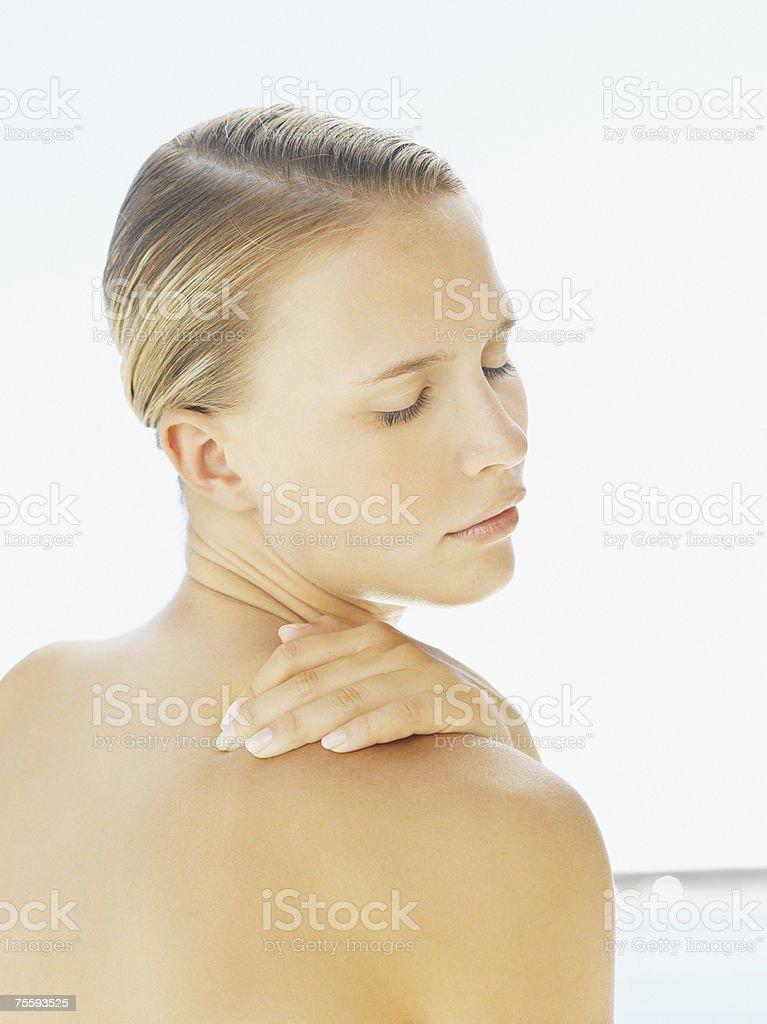 Woman looking serene royalty-free stock photo
