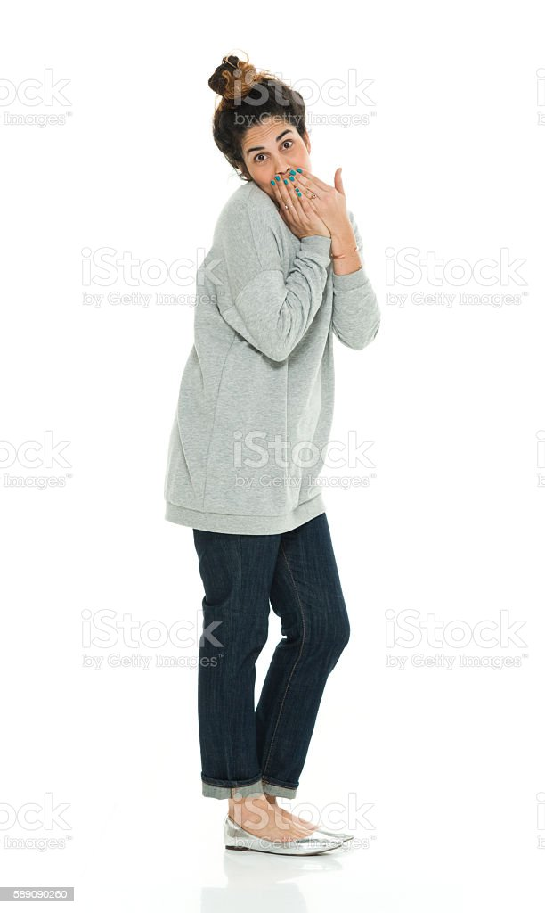 Woman looking shocked stock photo