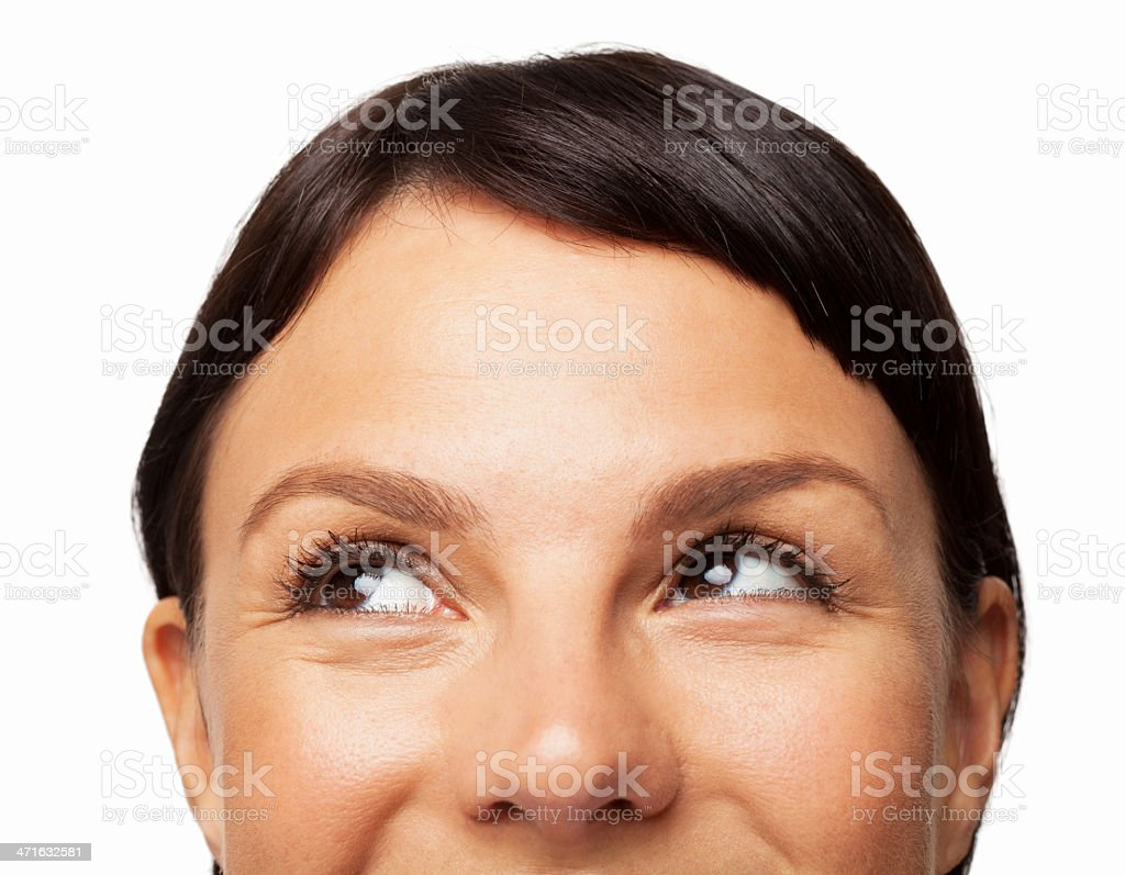 Woman Looking Sideways - Isolated stock photo