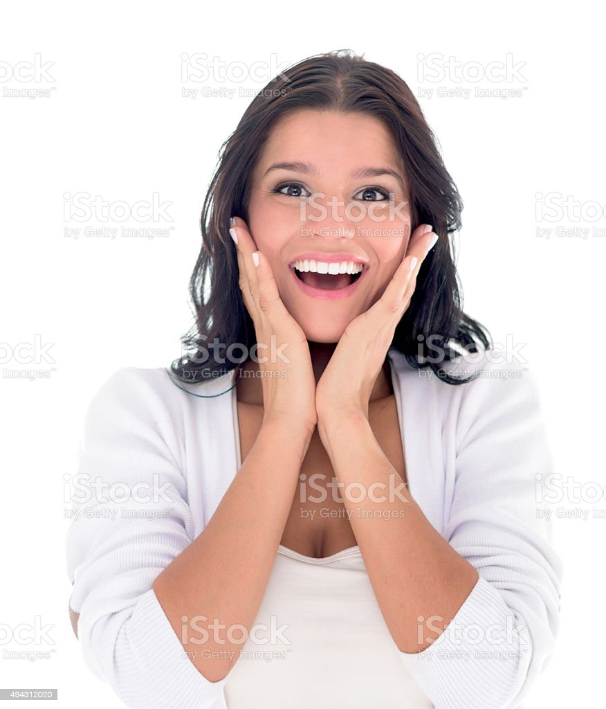 Woman looking surprised stock photo