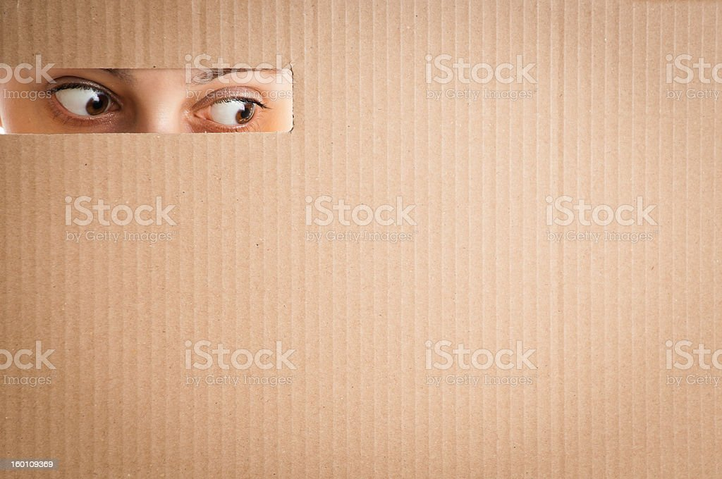 woman looking through the hole in cardboard royalty-free stock photo