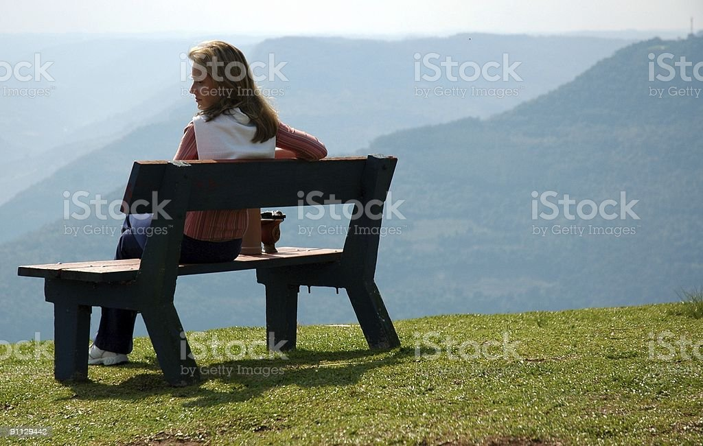 woman looking to horizon royalty-free stock photo