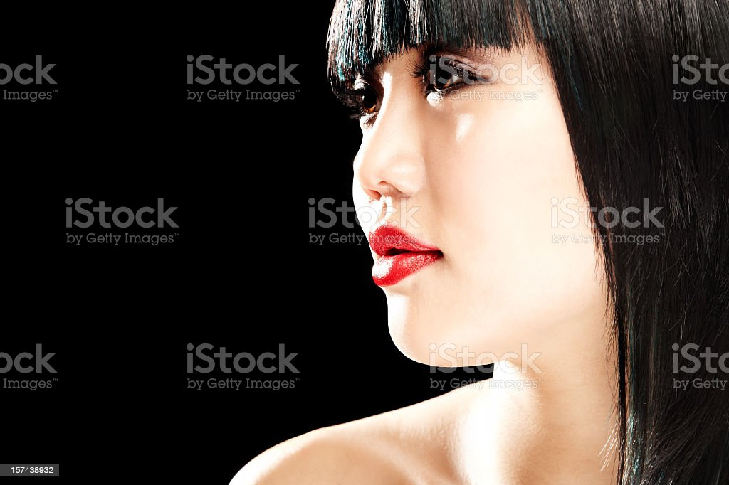Woman Looking to Side stock photo