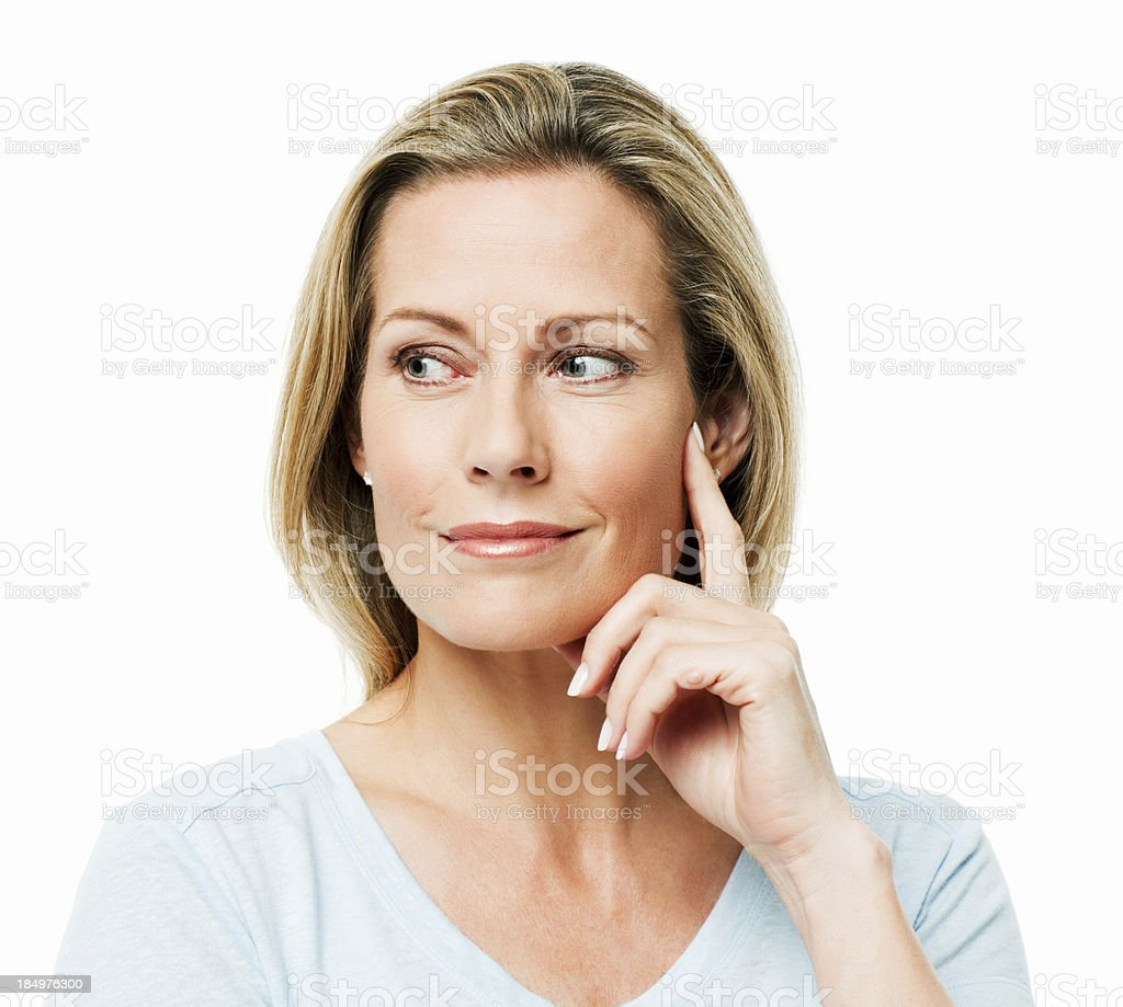 Woman Looking to the Side While in Thought - Isolated royalty-free stock photo