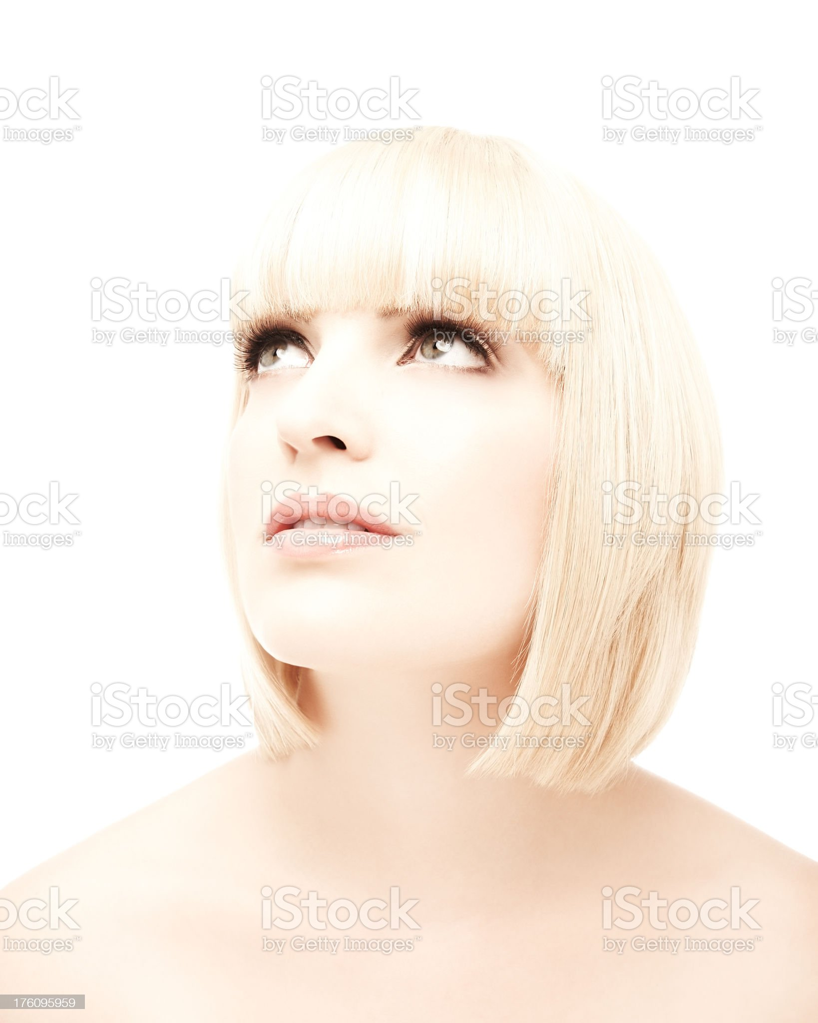 Woman Looking Up and Away royalty-free stock photo