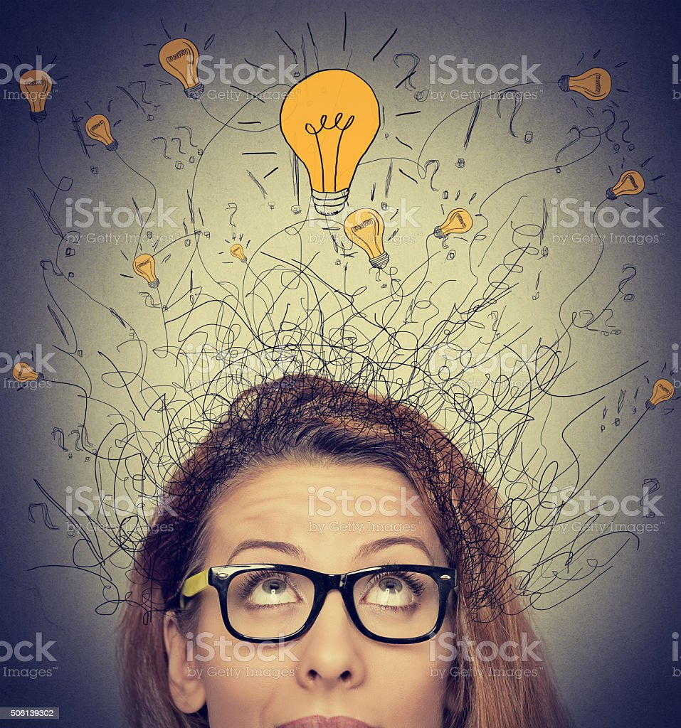 woman looking up has ideas stock photo