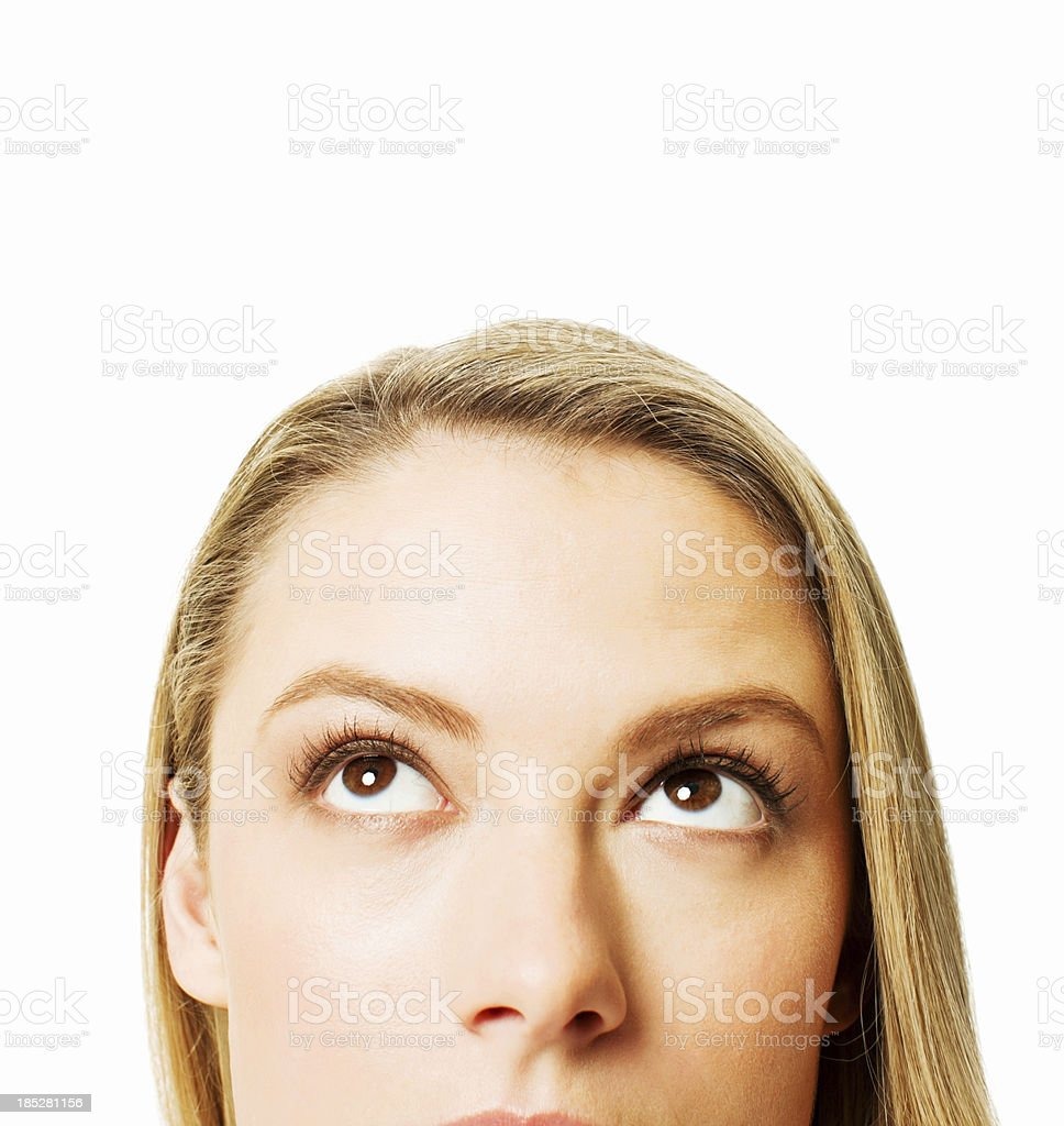 Woman Looking Up - Isolated stock photo