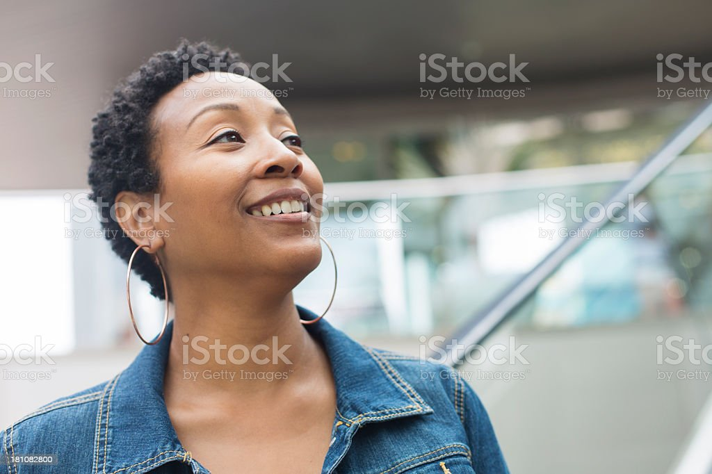 Woman Looking Up royalty-free stock photo