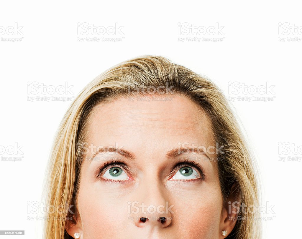 Woman Looking Upwards - Isolated stock photo
