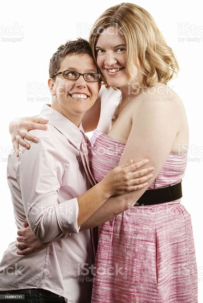 Woman Looks Up to Girlfriend royalty-free stock photo