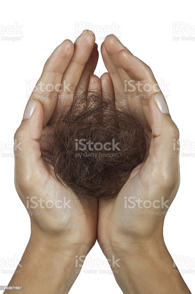 Woman losing hair stock photo