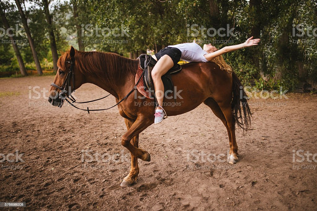 Woman loves her horse stock photo