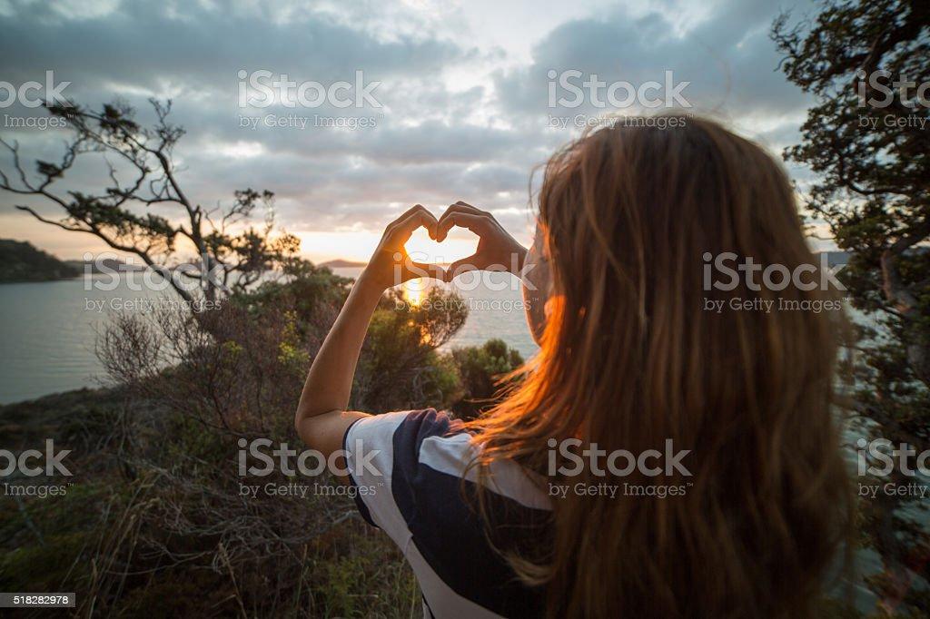Woman loving nature stock photo