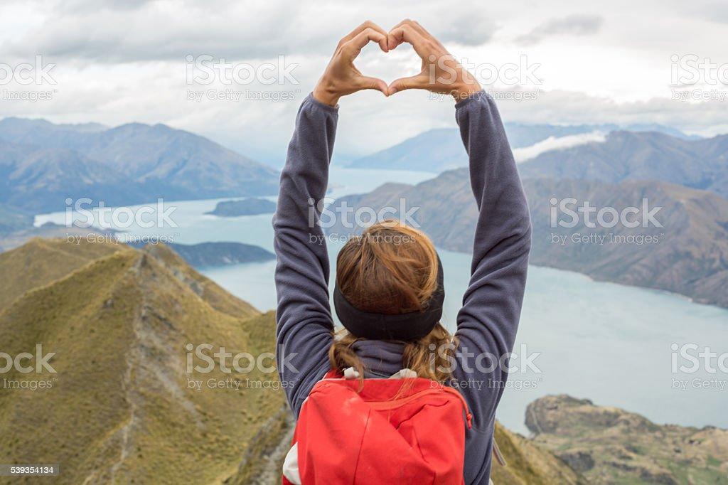 Woman loving planet earth stock photo