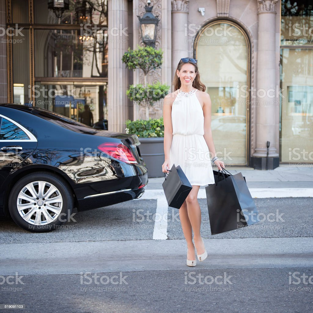 Woman Luxury Shopping stock photo