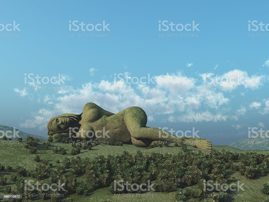 Woman lying, as part of the landscape stock photo