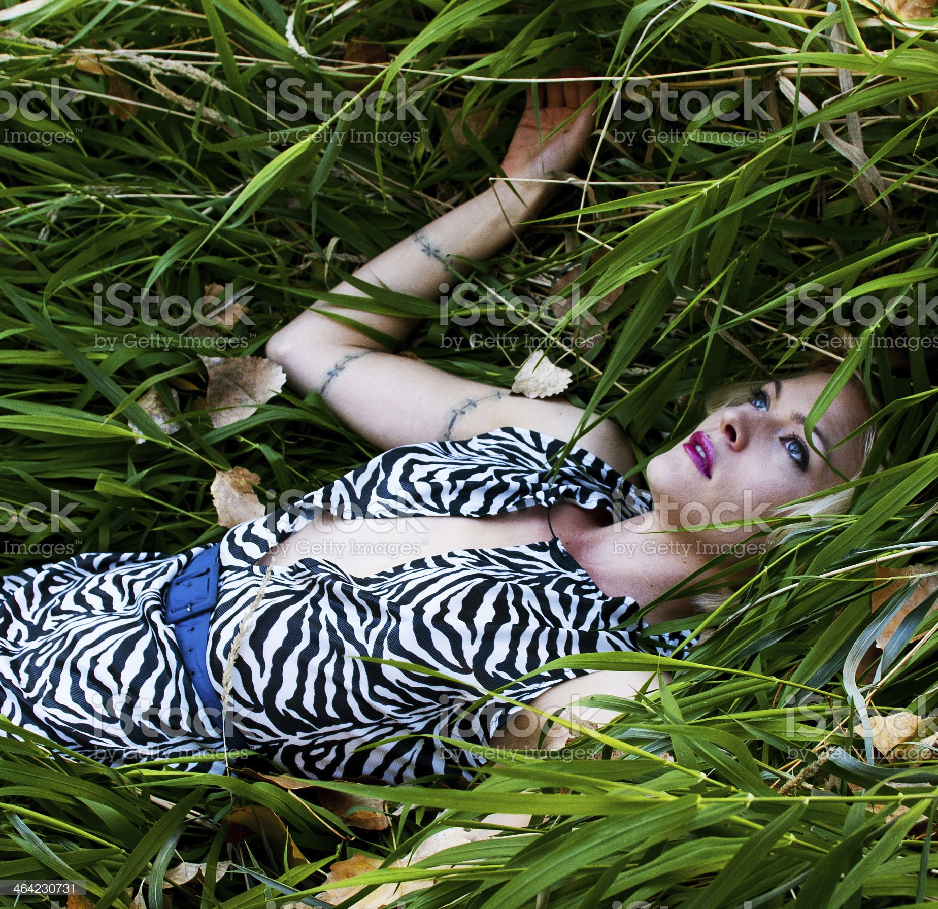 woman lying in grass royalty-free stock photo