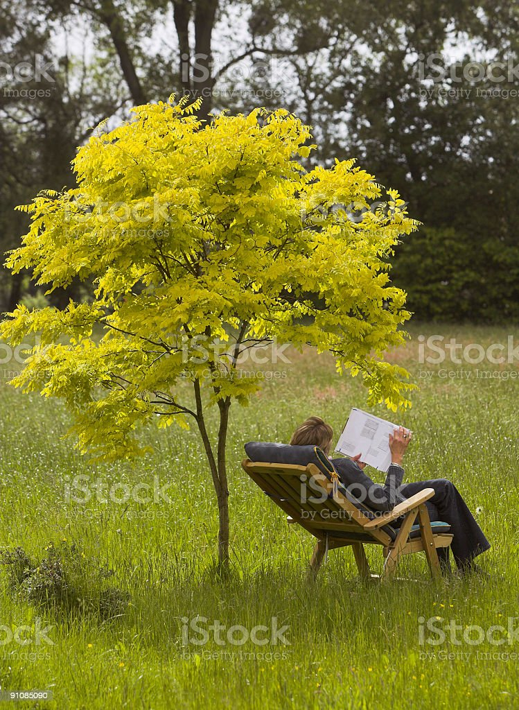 Woman lying on deck chair under tree reading book royalty-free stock photo