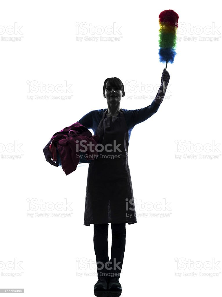 woman maid housework saluting silhouette royalty-free stock photo