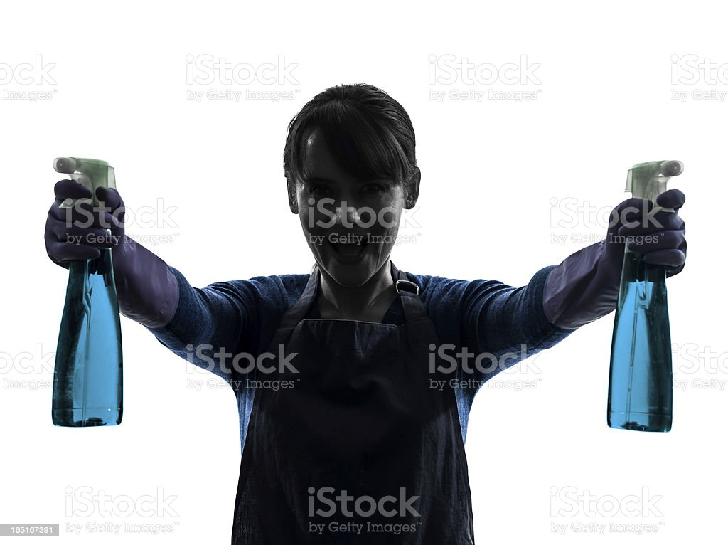 woman maid housework window cleaning sprayer silhouette royalty-free stock photo