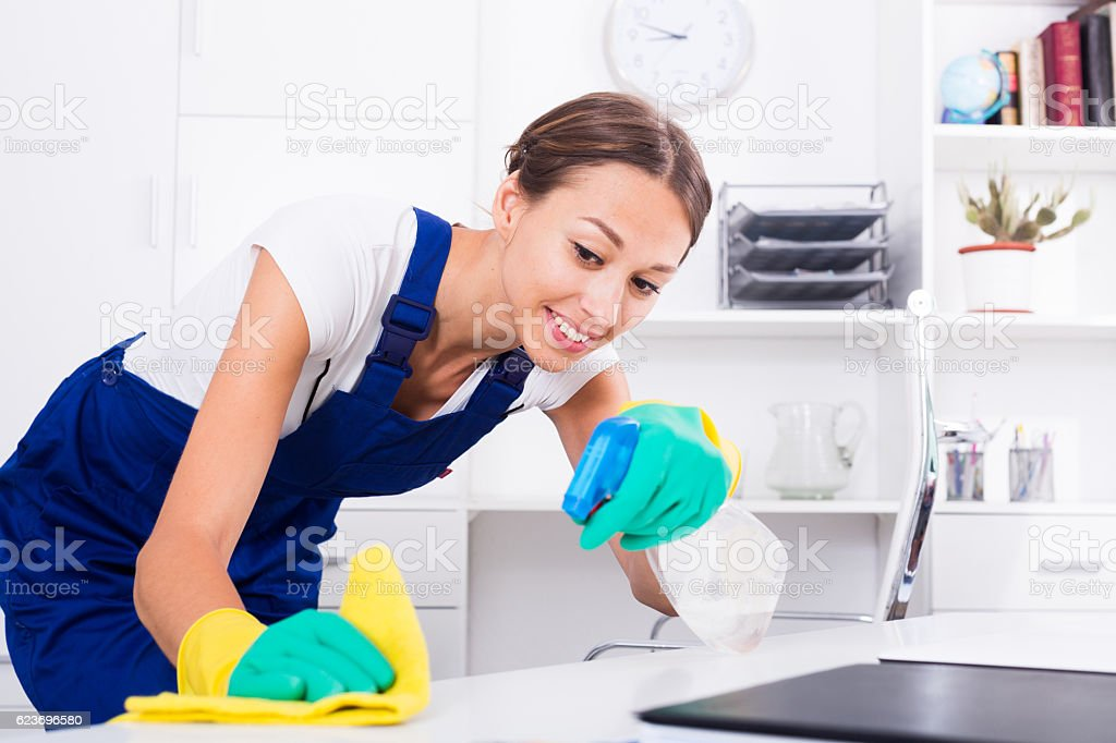 woman maid in office stock photo