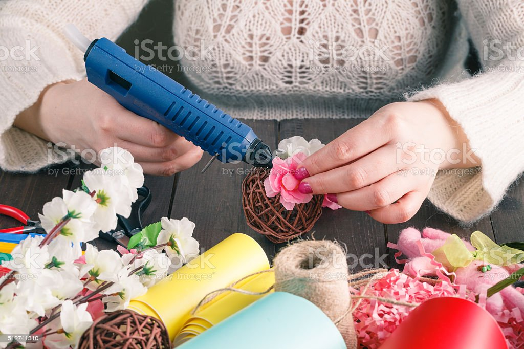 Woman make floral decor stock photo