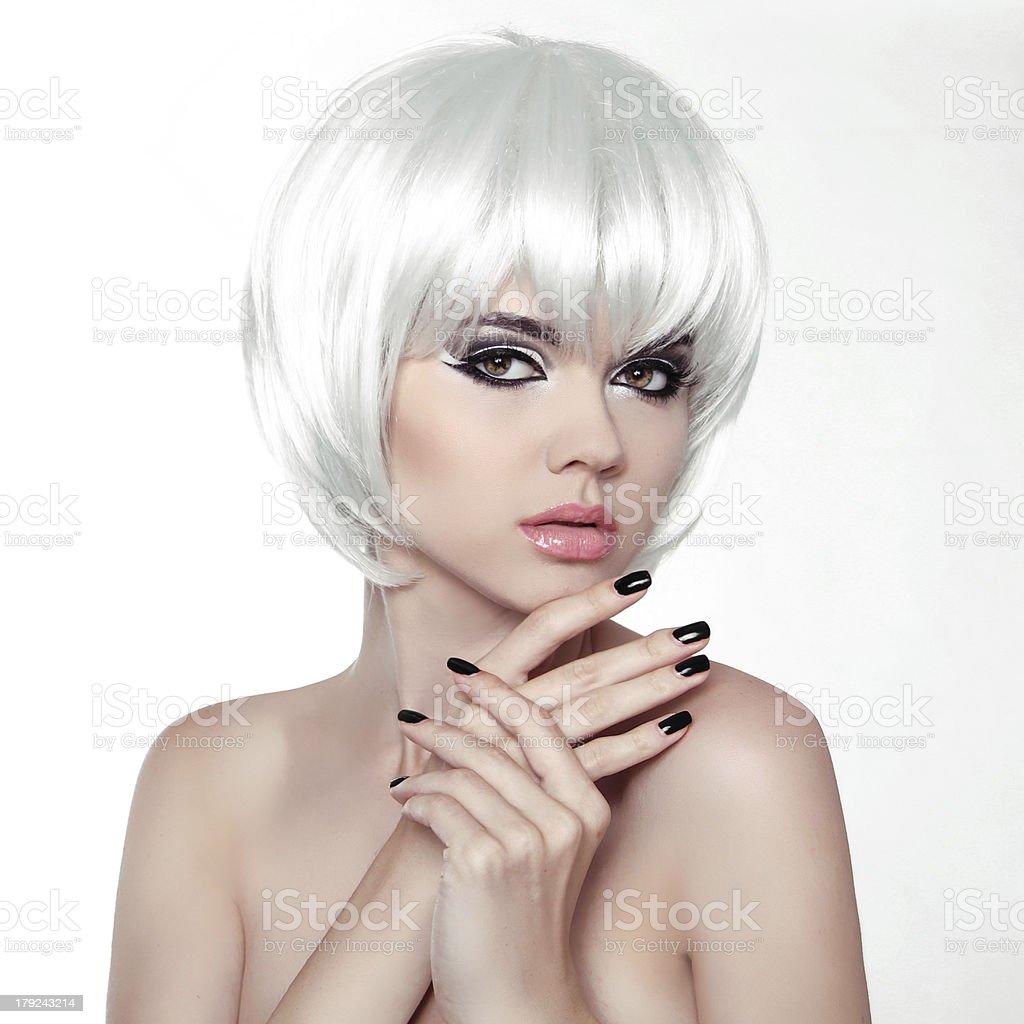 Woman Makeup and Manicured polish nails. Fashion Style Beauty royalty-free stock photo