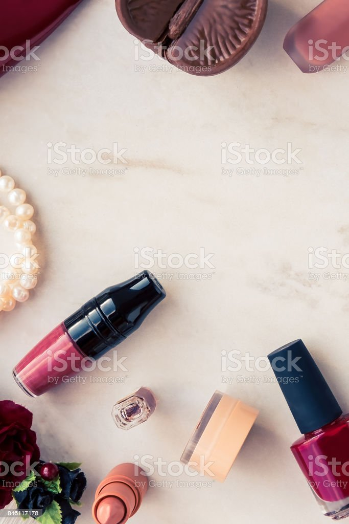 Woman makeup beauty products from above stock photo