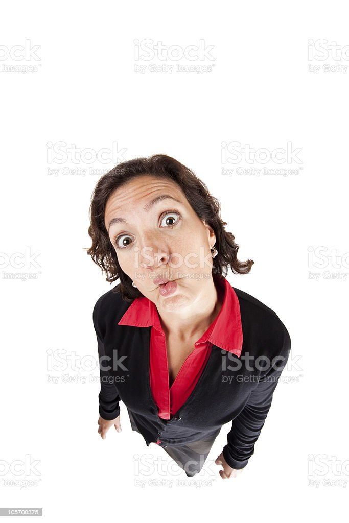 Woman making a funny face stock photo