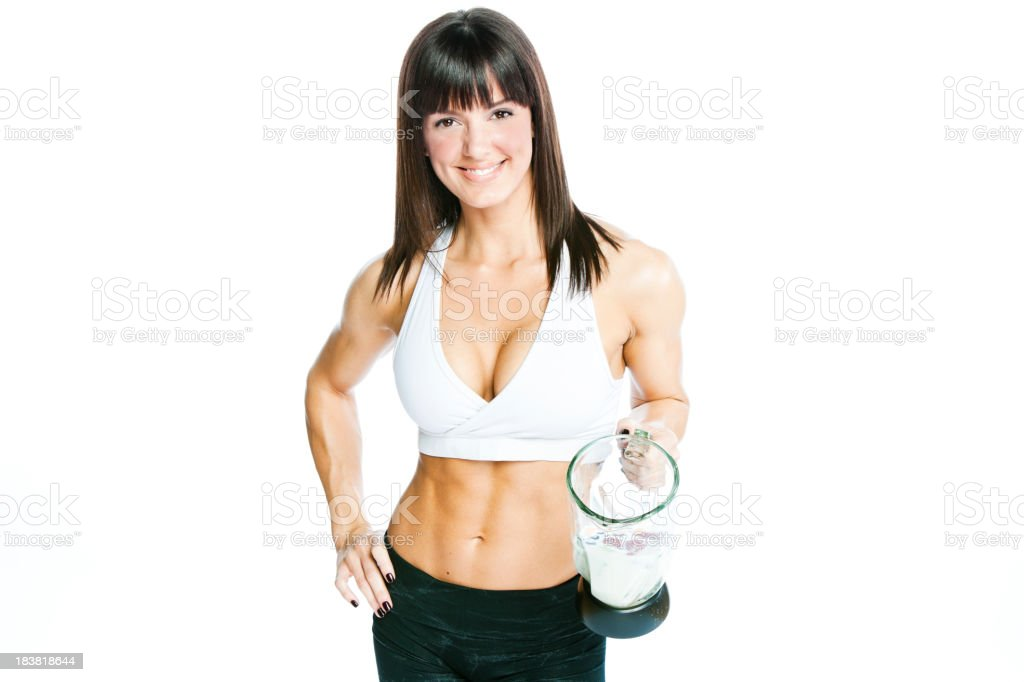 Woman Making a Protein Shake royalty-free stock photo
