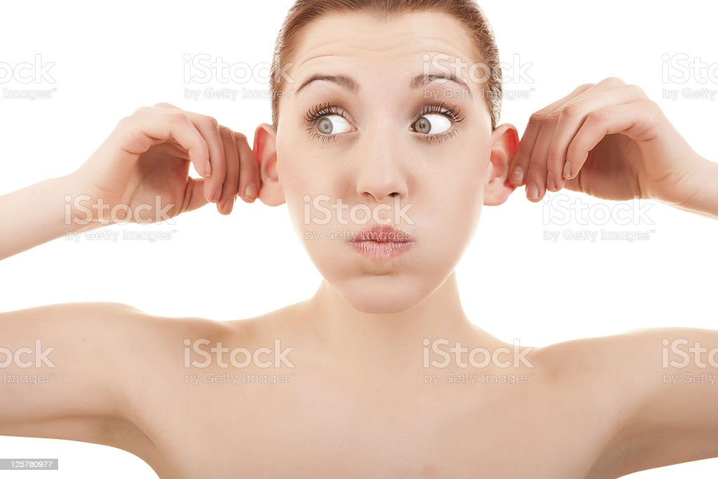 Woman making a silly expression stock photo