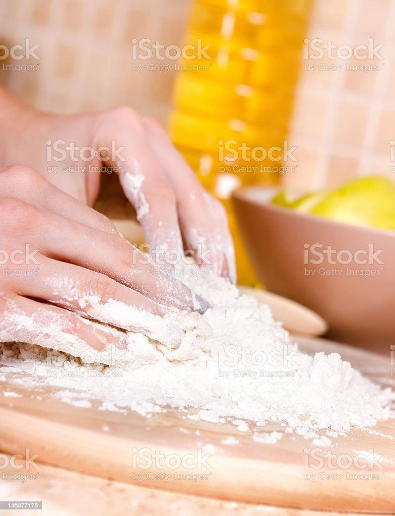 Woman making cake royalty-free stock photo