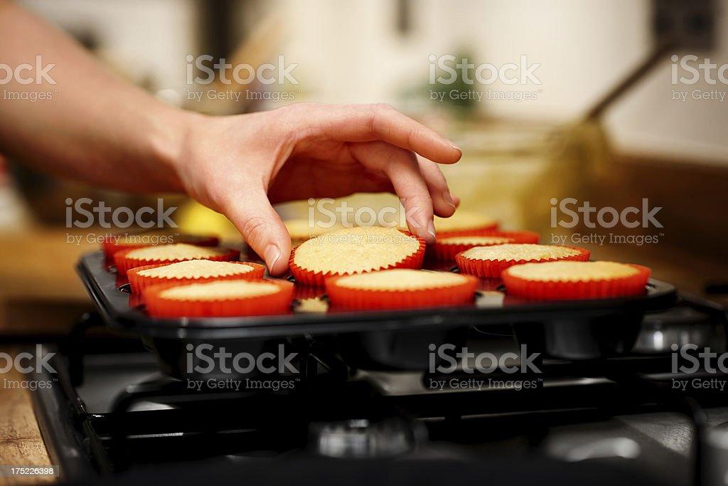 Woman making Christmas dessert stock photo