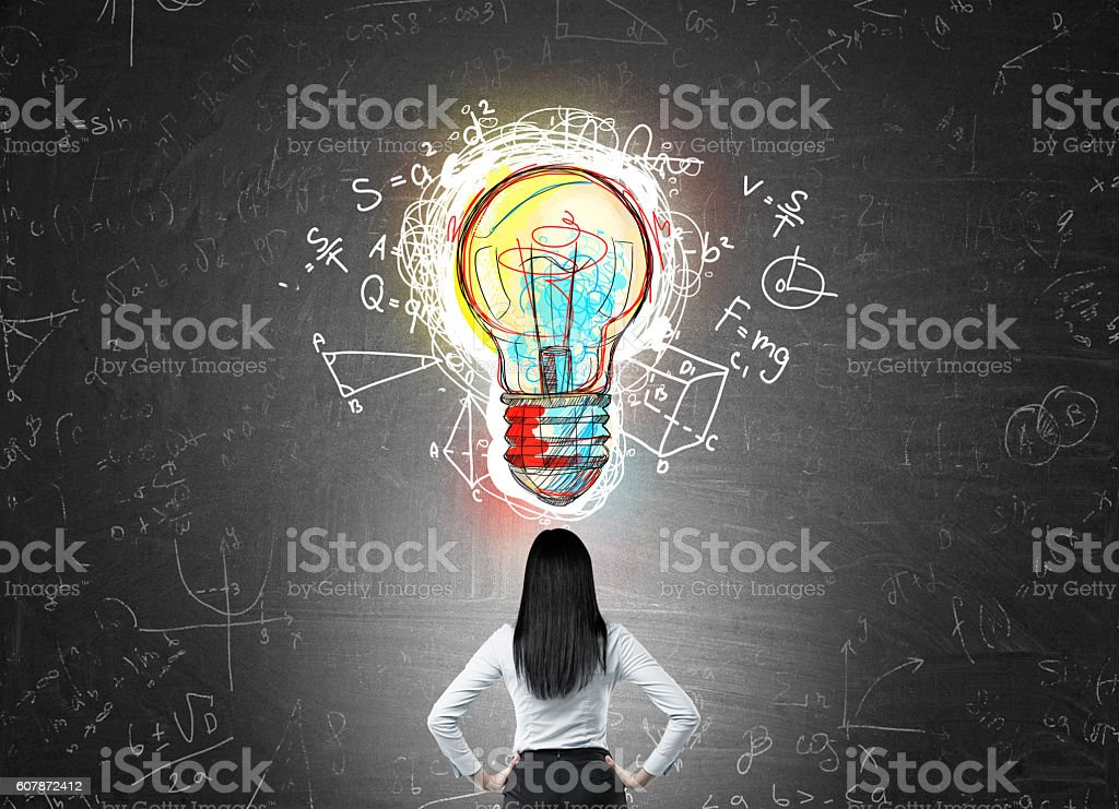 Woman making discovery stock photo