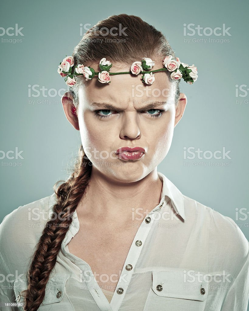 Woman making face royalty-free stock photo