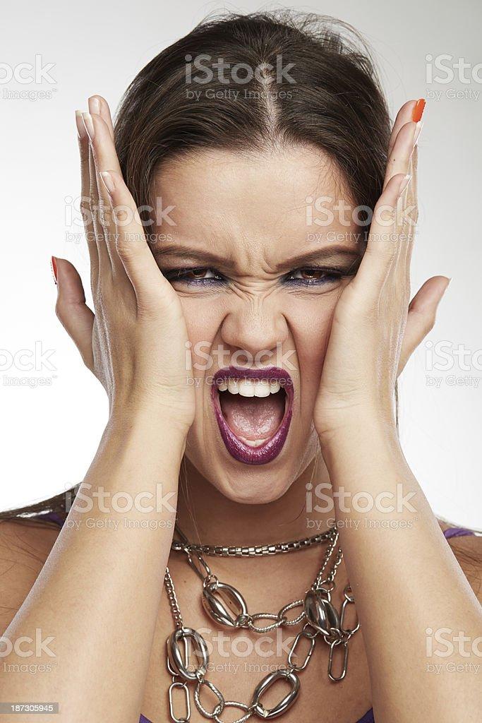 Woman Making Faces: Panic royalty-free stock photo