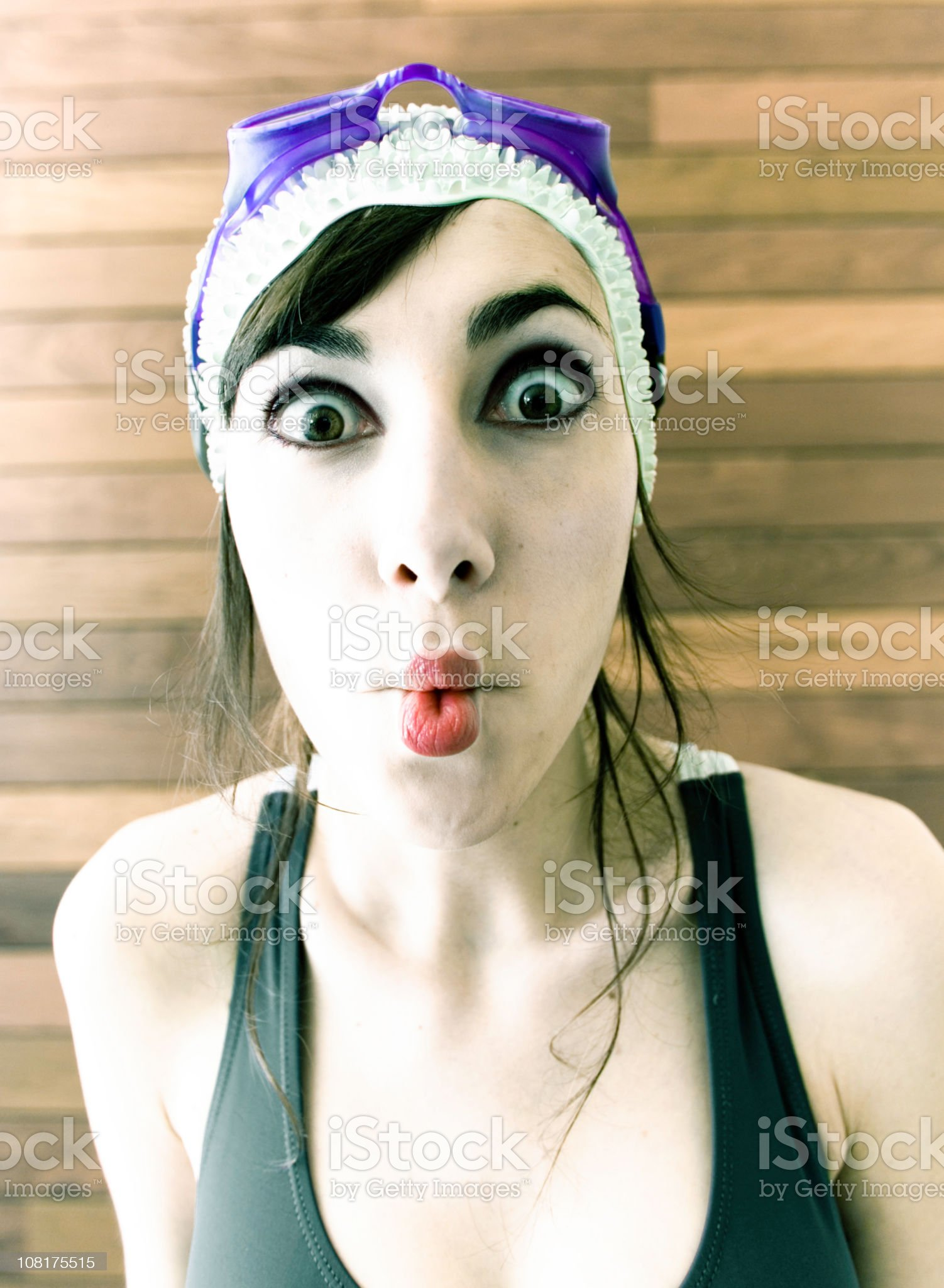 Woman Making Fish Lips royalty-free stock photo