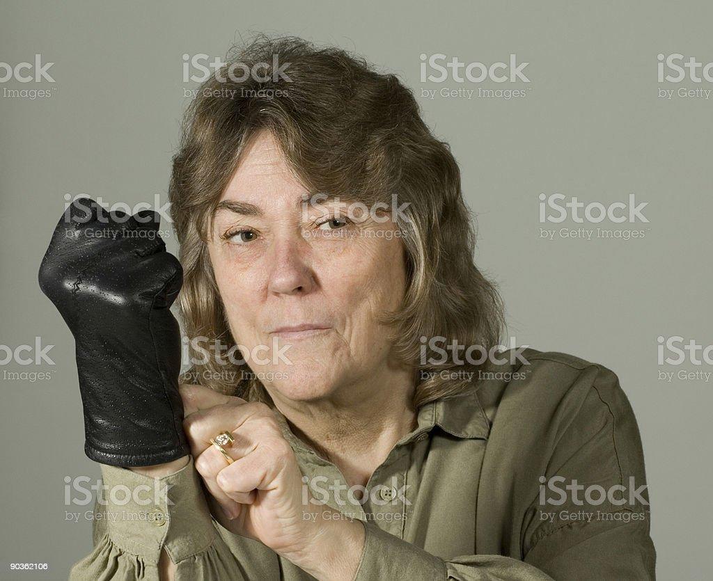 Woman Making Fist stock photo