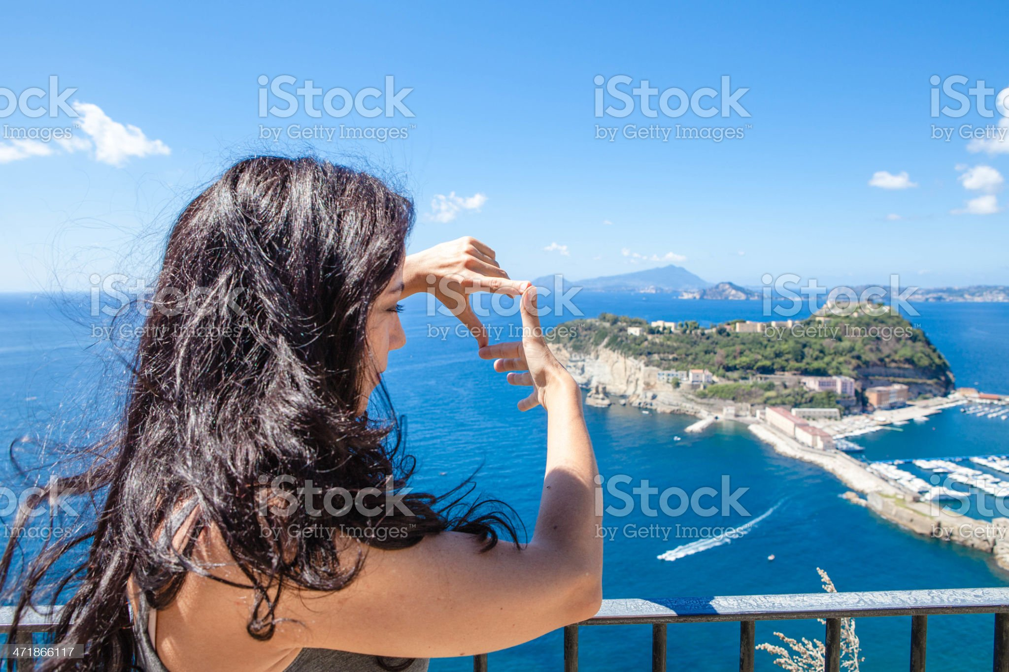 Woman Making Frame For Landscape royalty-free stock photo