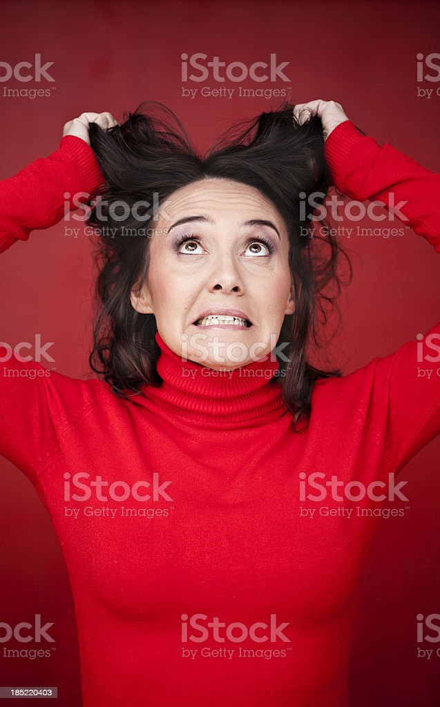 Woman making funny face. royalty-free stock photo