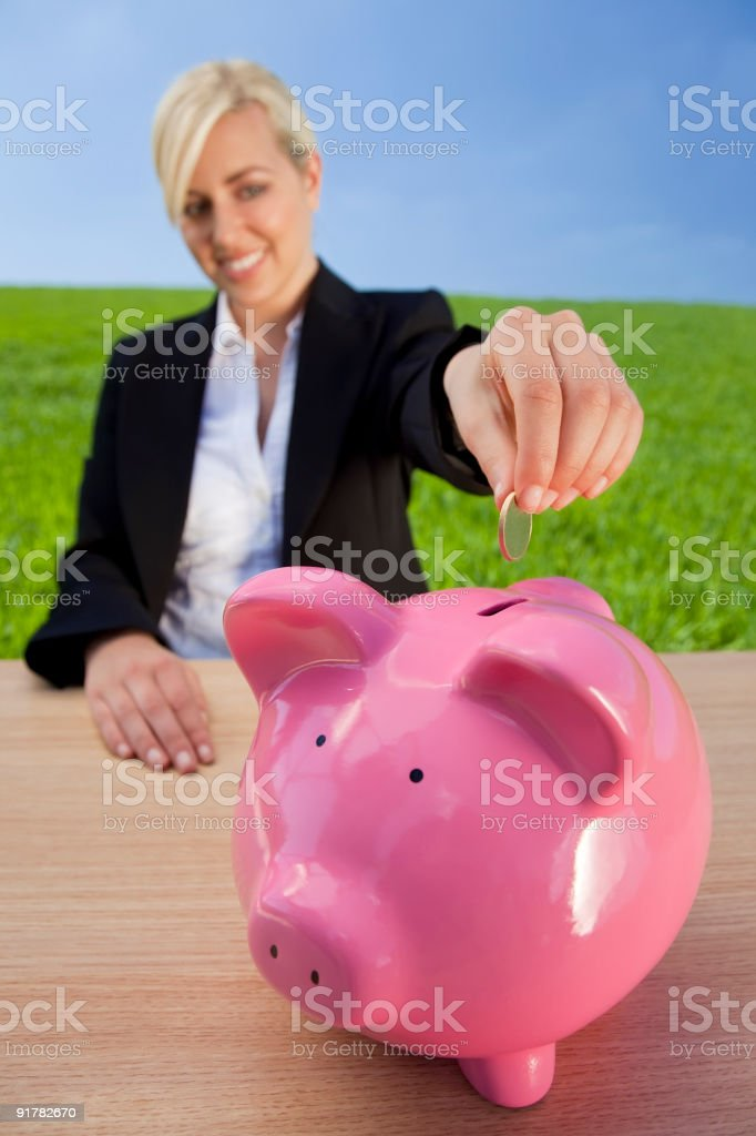 Woman Making Green Investment royalty-free stock photo