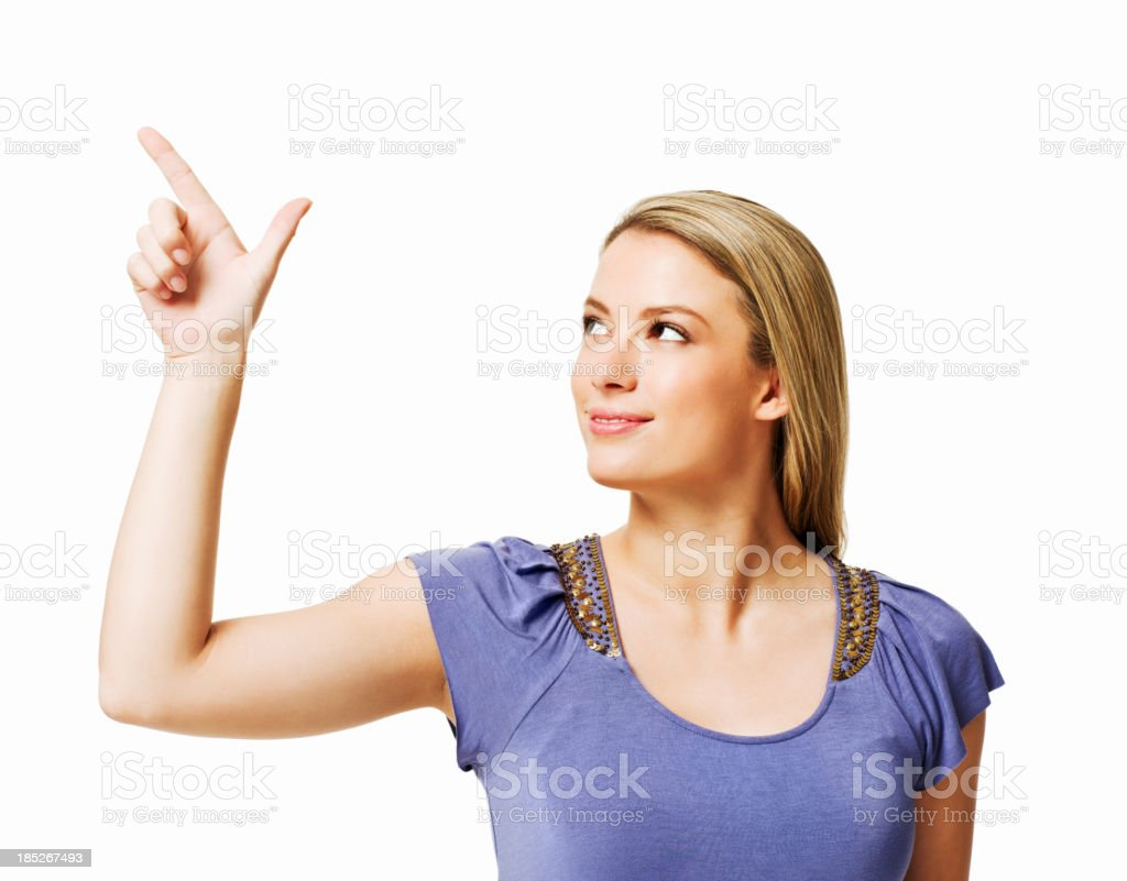 Woman Making Gun with Fingers - Isolated royalty-free stock photo