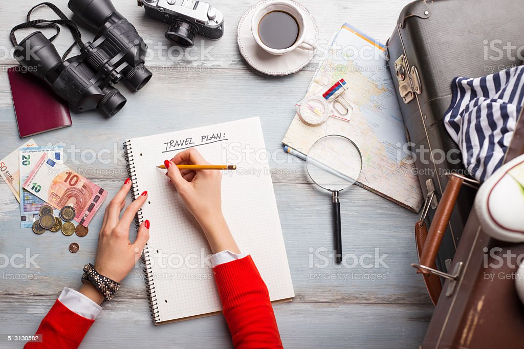 Woman making list for traveling stock photo